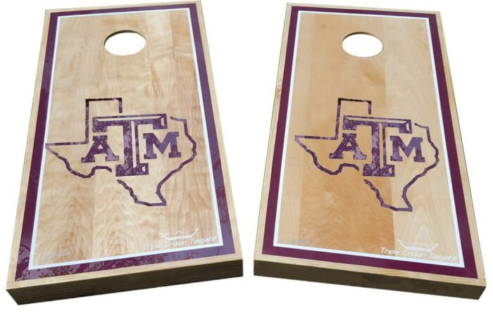 Weatherproof Aggie Cornhole Boards with Texas Outline