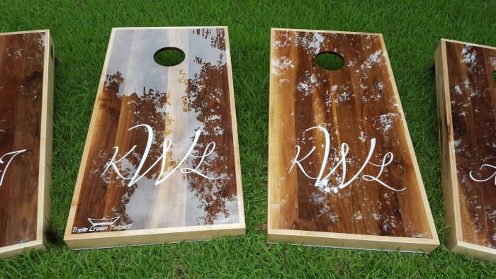 Wedding Cornhole Boards - Triple Crown Tailgate