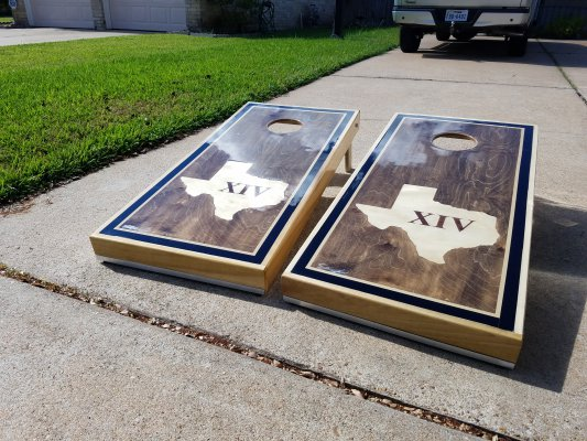 Custom Texas Inlay Cornhole Boards