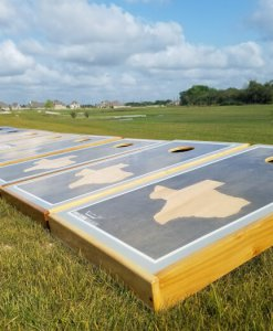 Gray Texas Sun Cornhole Board