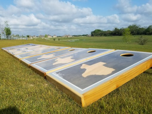 Gray Texas Sun Cornhole Board
